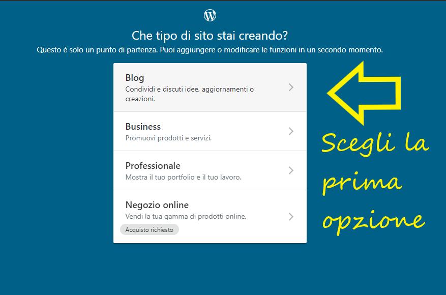 Schermata wordpress per scelta tipo sito blog