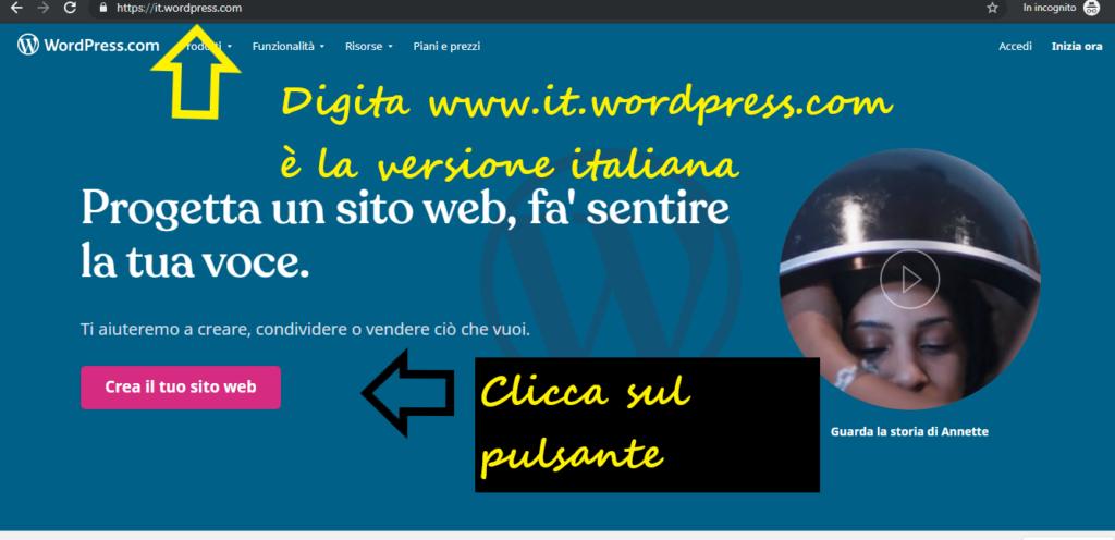 pagina iniziale wordpress